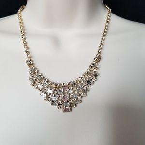 Prom Wedding Gold Rhinestone Elegant Necklace
